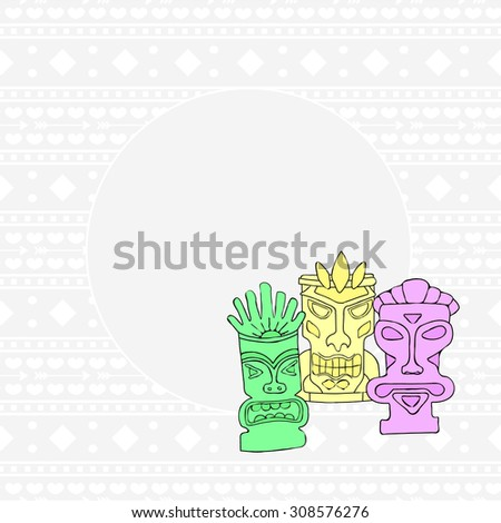 Ethnic frame for text with totems - stock vector