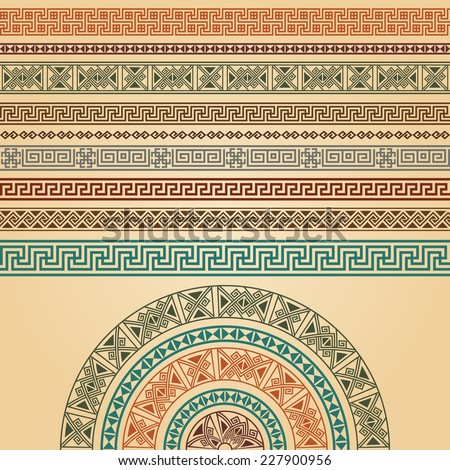 Ethnic geometric design set collection. Most popular border decoration elements with halfround in different colors. Vector illustration. Could be used as divider, frame, etc  - stock vector