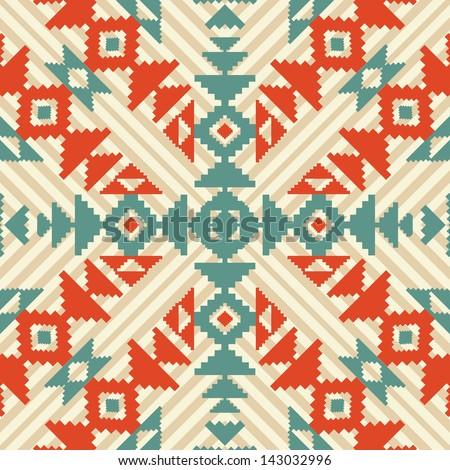 Ethnic geometric seamless ornament - stock vector