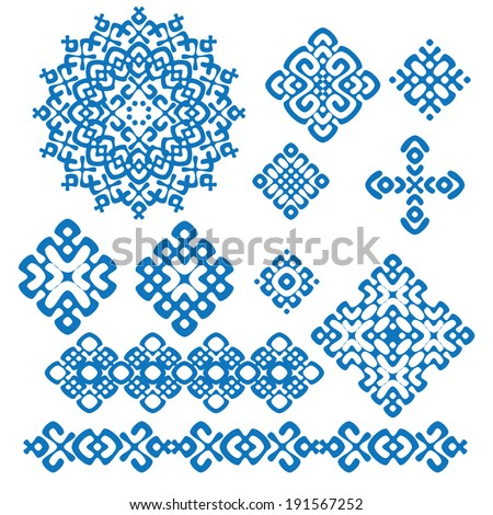 ethnic geometric signs and borders set. collections of blue and white geometric designs. vector illustration.  - stock vector