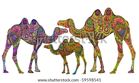 Ethnic giraffes are a symbol of stability - stock vector