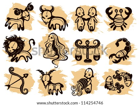 Ethnic horoscope with some ornaments - stock vector