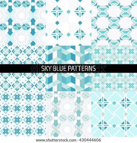 Ethnic islamic arabic morrocan pattern set. Islamic arabic background. Islamic geometry. Seamless vector in arabic style. - stock vector