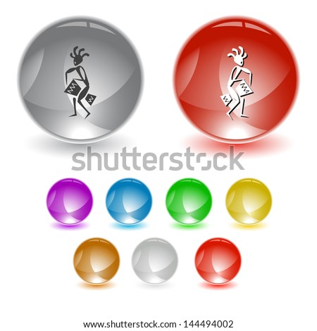 Ethnic little man with drum. Vector interface element. - stock vector