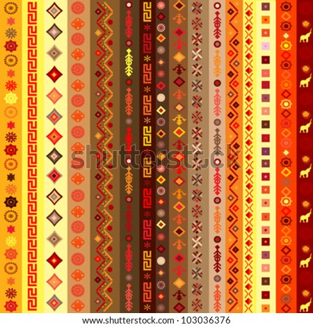 Ethnic motifs pattern background with geometrical elements - stock vector
