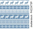 Ethnic nordic pattern with deer. Vector illustration. - stock vector
