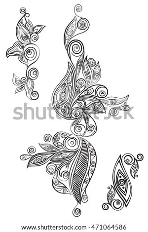 Ethnic ornament elements for any design. Vector graphic art.
