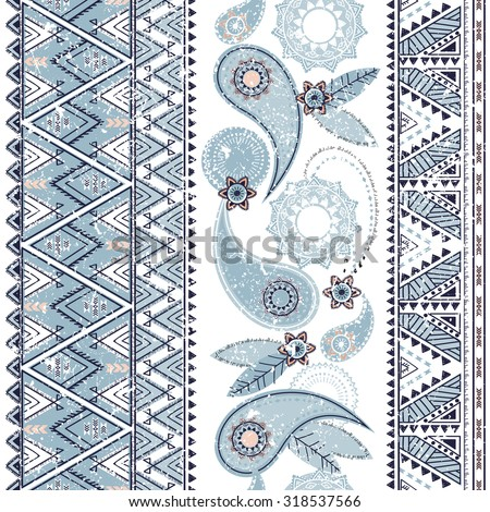 Ethnic paisley pattern, tribal  seamless background - stock vector