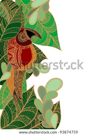 ethnic parrot of various elements on a white background - stock vector