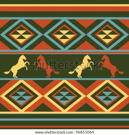 Ethnic patten background,with horse vector - stock vector