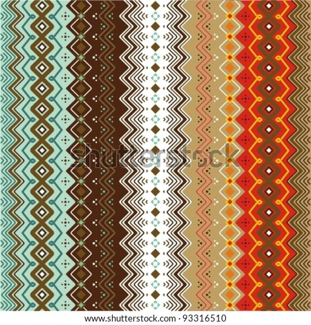 Ethnic pattern background with geometrically elements in two different color motifs - stock vector