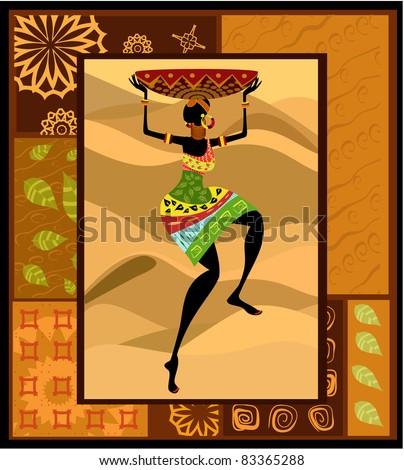 ethnic pattern c pretty woman - stock vector