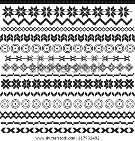 Ethnic pattern motifs - black and white - stock vector
