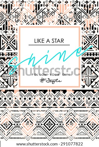 Ethnic pattern with slogan on it, in vector - stock vector