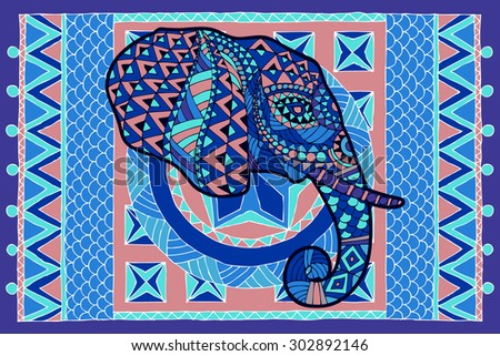 Ethnic patterned head of elephant on the grange background/ African, Indian design. Use for print, posters, t-shirts.The head of an elephant with ornament on the background of the carpet in blue. - stock vector
