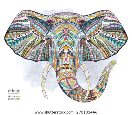 Ethnic patterned head of elephant on the grange background/ african / indian / totem / tattoo design. Use for print, posters, t-shirts.  - stock vector
