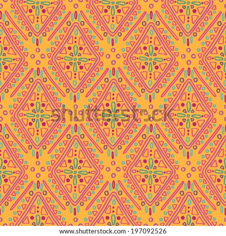 Ethnic rustic ornament. Seamless vector pattern in orange tones - stock vector