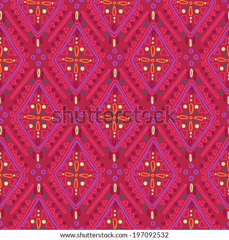 Ethnic rustic ornament. Seamless vector pattern in red tones - stock vector