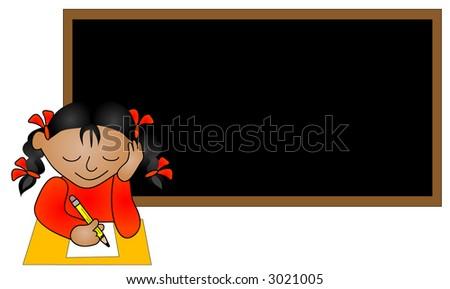 Ethnic school girl sitting in a classroom. - stock vector