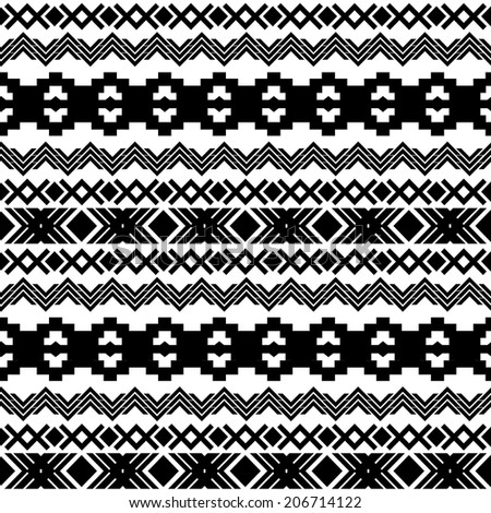 Ethnic seamless pattern. Aztec black-white background. Vector illustration. - stock vector