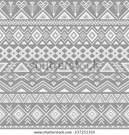 Ethnic seamless pattern. Aztec gray background. Tribal, ethnic, navajo print. Modern abstract wallpaper. Vector illustration. - stock vector