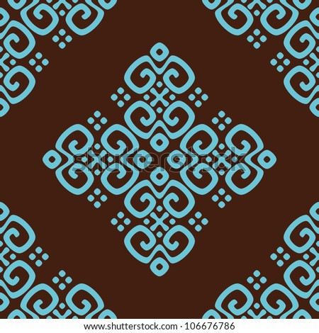 ethnic seamless pattern background in brown and blue colors, vector illustration - stock vector