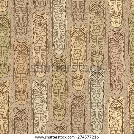 Ethnic seamless pattern, tribal style. African mask tiled background. - stock vector