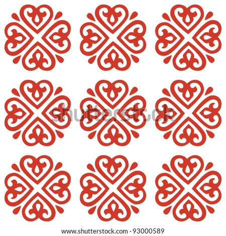 ethnic seamless Valentine and Card Valentine background. textures in red and white colors