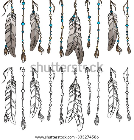 Ethnic set in native style. Feathers and beads on white background.