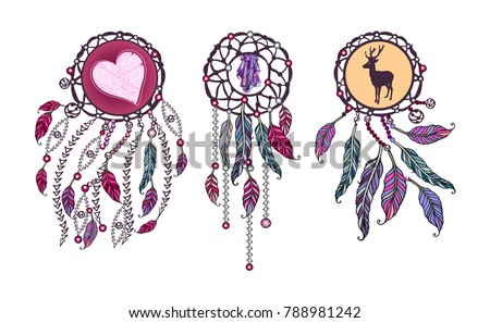 Ethnic Set Tribal Amulet American Indians Stock Vector 2018