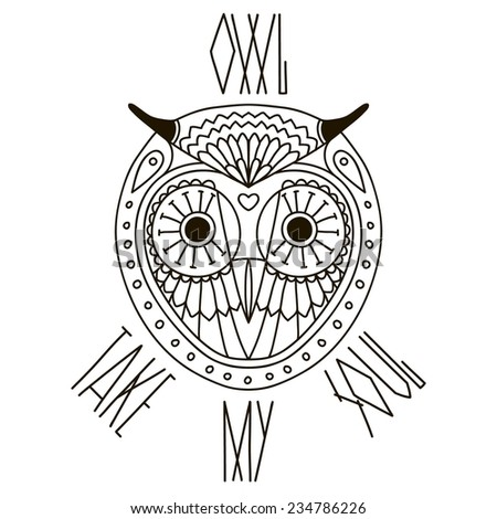 Ethnic style owl's face vector drawing with text. Isolated outlines - stock vector