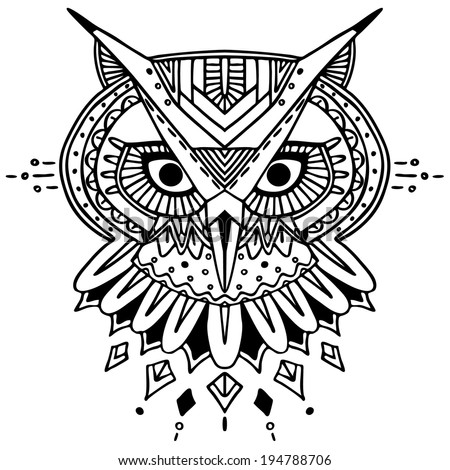 Ethnic style owl vector drawing. Isolated outlines - stock vector