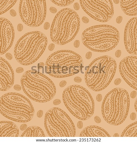 Ethnic style seamless pattern with hand drawn coffee beans. Perfect for pattern fills, web page background, wallpaper  - stock vector