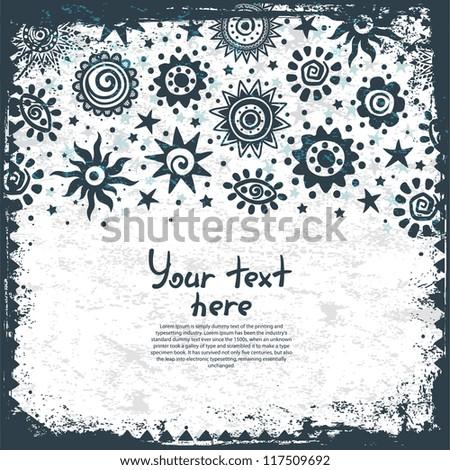 Ethnic sun ornaments background - stock vector