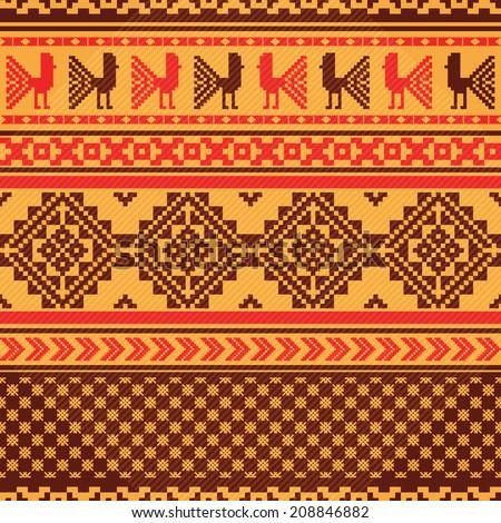 Ethnic textile ornamental pattern - stock vector