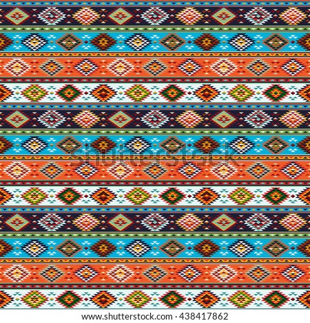Ethnic traditional native American Indian style textile seamless pattern - stock vector