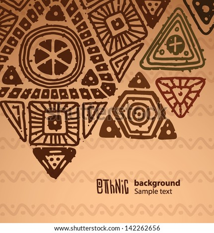 Ethnic triangle pattern background 03, vector - stock vector