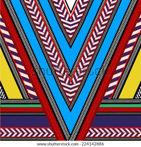 Ethnic,tribal,african print in vector,geometric. - stock vector