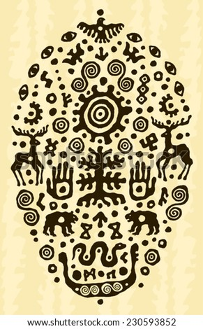 ethnic tribal native prehistoric animal solar tree  - stock vector