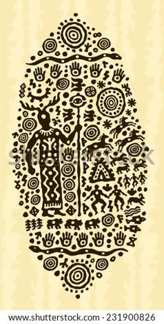 ethnic tribal native prehistoric priest ritual symbol      - stock vector