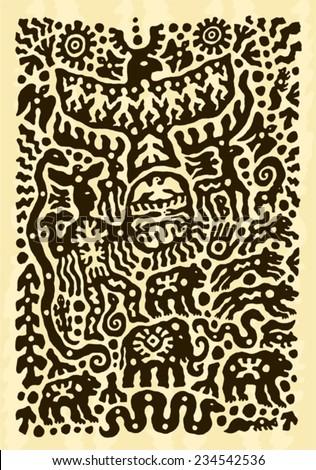ethnic tribal native prehistoric witch shaman animal eagle bear snake dance symbol   - stock vector