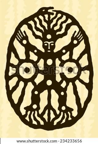 ethnic tribal native prehistoric witch shaman dance moon sun symbol    - stock vector