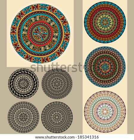 Ethnic vector design elements. Set collections of round design template. Can be used for invitation, menu, ottoman, card design, for pillow design, banners, signs and others Isolated on beige  - stock vector
