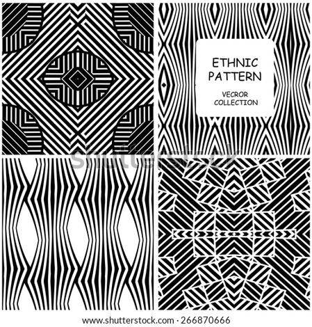 Ethnic Vector set of four  seamless patterns. Linear trellis, wavy and fine grid repeating backgrounds. Monochrome collection whit Eclectic African motif. - stock vector