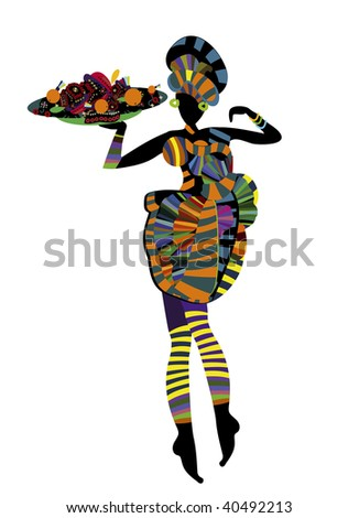 ethnic woman holding a drink and food in ethnic style - stock vector