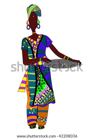 ethnic woman in a beautiful colored clothing is a dish for eating - stock vector