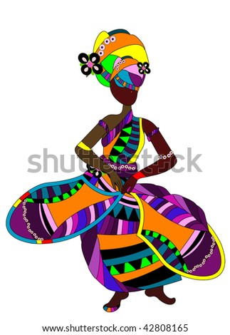 ethnic woman in a bright dress dancing a celebratory dance - stock vector