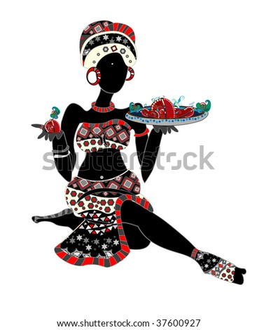 ethnic women offer you food in ethnic style - stock vector