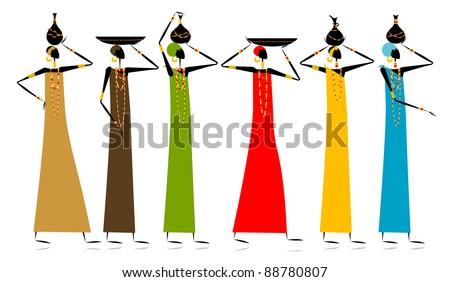 Ethnic women with jugs - stock vector