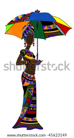 ethnic young woman with an umbrella in hand - stock vector